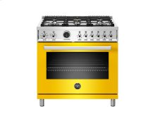 36 inch Dual Fuel Range, 6 Brass Burner, Electric Self-Clean Oven Yellow