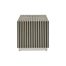 Black and Off White Resin Vertical Stripe Square Cube With Nickel Base