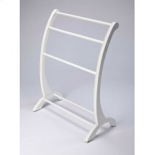 This charming transitional blanket stand is a practical addition in any living room, bedroom, or bathroom. Made from rubberwood and poplar hardwood solids, it boasts arched side supports with hand-carved appointments in a pristine Glossy White finish. The