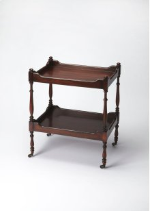 This traditional serving cart will stylishly enhance your space. Featuring a Plantation Cherry Finish, it is hand crafted from rubberwood solids, mdf, cherry veneer.