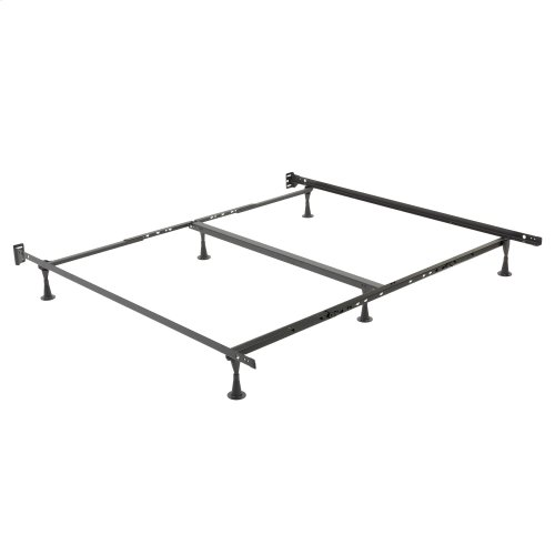 Restmore Adjustable PLK45G Posi-Lock Single Angle Cross Support Bed Frame with Headboard Brackets and (6) 2.5-Inch Glide Legs, Queen / Cal King / King