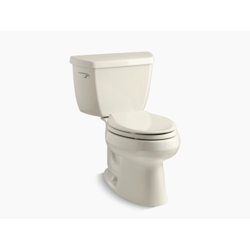 Almond Two-piece Elongated 1.28 Gpf Toilet With Class Five Flush Technology and Left-hand Trip Lever, Seat Not Included