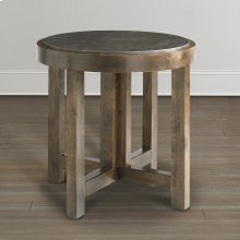 Western Brown Compass Round Lamp Table