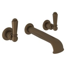 English Bronze Perrin & Rowe Wall Mount 3-Hole Concealed Lavatory Faucet