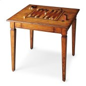 Crafted from gemilina solid wood in a transparent finish to showcase beautiful wood grains, knots and all. The playing surface flips from backgammon on one side to chess/checkers on the other with a storage drawer for game pieces. The tabletop is beveled,