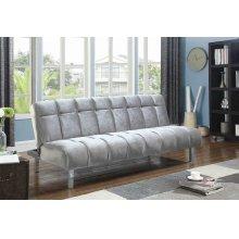 Contemporary Silver and Chrome Sofa Bed