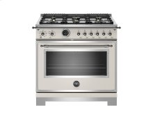 36 inch Dual Fuel Range, 6 Brass Burner, Electric Self-Clean Oven Ivory