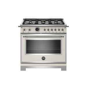 Bertazzoni36 inch Dual Fuel Range, 6 Brass Burner, Electric Self-Clean Oven Ivory
