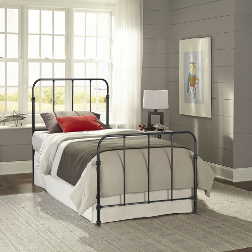 Nolan Fashion Kids Metal Headboard and Footboard Bed Panels with Fun Versatile Design, Space Black Finish, Full