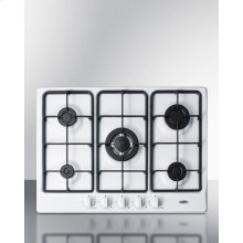 "5-burner Gas Cooktop Made In Italy In A White Finish With Sealed Burners, Cast Iron Grates, and Wok Stand; Fits Standard 24"" Wide Cutouts"