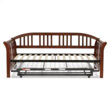 Salem Complete Wood Daybed with Euro Top Spring Support Frame and Pop-Up Trundle Bed, Mahogany Finish, Twin