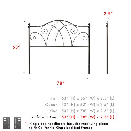 Deland Metal Headboard Panel with Arched Rails and Finial Posts, Brown Sparkle Finish, California King