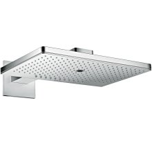 Chrome Overhead shower 460/300 3jet with shower arm and square escutcheon
