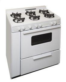 36 in. Freestanding Sealed Burner Gas Range in White