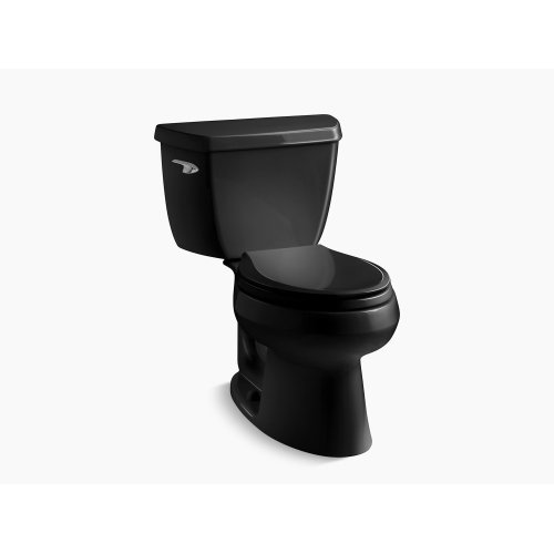 Black Black Two-piece Elongated 1.28 Gpf Toilet With Class Five Flush Technology, Left-hand Trip Lever and Tank Cover Locks, Seat Not Included