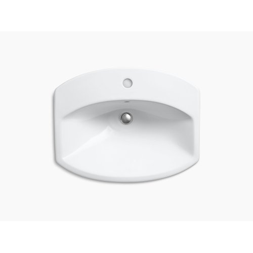 Biscuit Drop-in Bathroom Sink With Single Faucet Hole