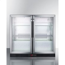 Commercial Back Bar Beverage Center for Freestanding Use, With Self-closing French Doors and Stainless Steel Wrapped Cabinet; Replaces Scr7012dcss