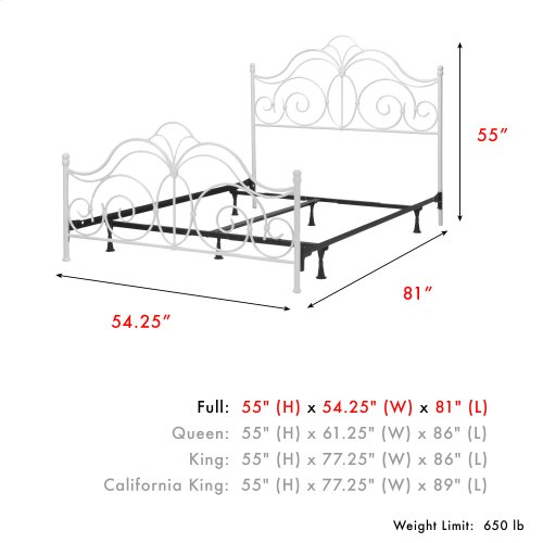 Rhapsody Complete Metal Bed and Steel Support Frame with Delicate Scrolls and Finial Posts, Glossy White Finish, Full