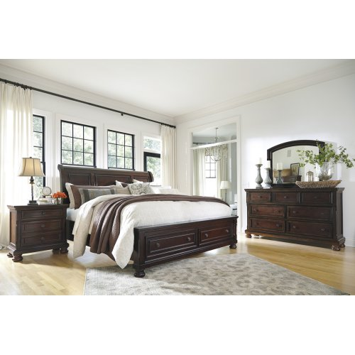 Ashley King Size Sleigh Bed with Storage Footboard