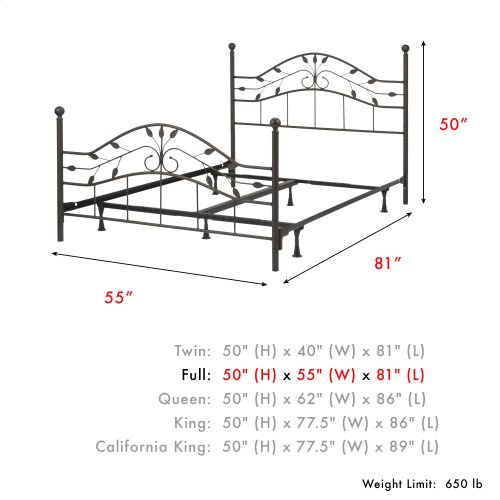 Sycamore Complete Metal Bed and Steel Support Frame with Leaf Pattern Design and Round Final Posts, Hammered Copper Finish, Full