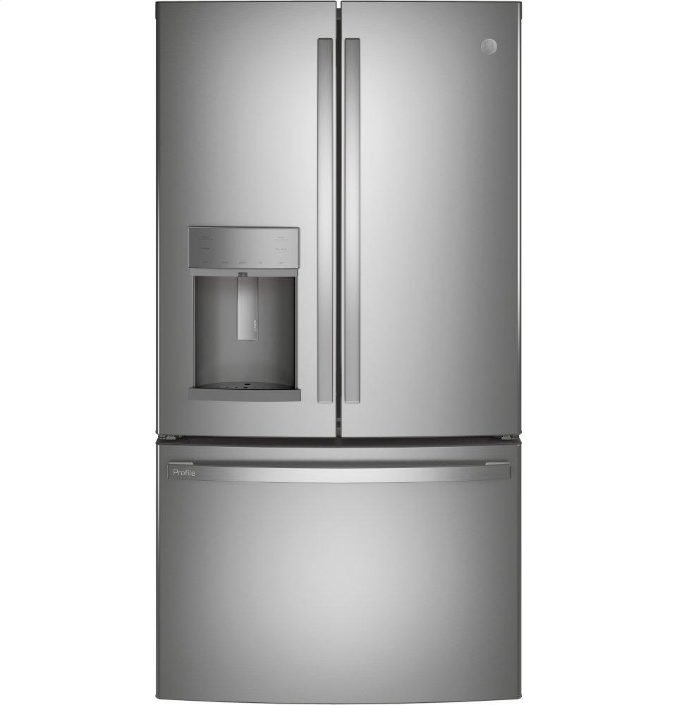 GEGe Profile(tm) Series Energy Star(r) 22.1 Cu. Ft. Counter-Depth Fingerprint Resistant French-Door Refrigerator With Hands-Free Autofill