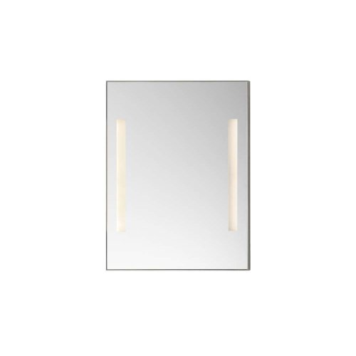 """Contemporary 23"""" x 30"""" Metal Framed Bathroom Mirror w/LEDs in Brushed Nickel"""