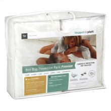 Sleep Calm 4-Piece Premium Bed Bug Prevention Pack Plus with Pillow Protectors, Easy Zip Mattress and Zippered Box Spring Encasement, Queen