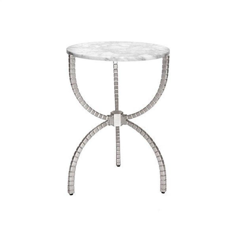 Hammered Base Side Table With White Marble Top In Silver Leaf