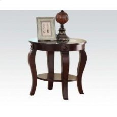Round End Table W/gl Top @n Product Image