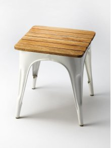 Enchant extra guests with this gorgeous spare seating. Crafted from Mango wood solids and iron, in a white finish. The steel frame is extra sturdy for years of comfort for everyone, in a farmhouse, or industrial décor loft.