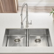 "Pekoe 29x18"" ADA Double Bowl Stainless Steel Kitchen Sink  American Standard - Stainless Steel"