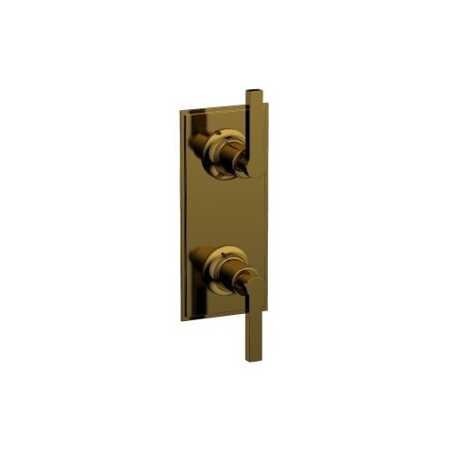 """HEX MODERN 1/2"""" Thermostatic Valve with Volume Control or Diverter Lever Handles 4-106 - French Brass"""