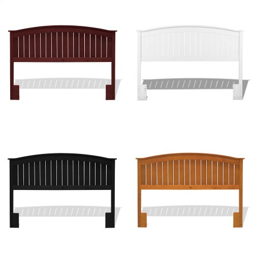 Finley Wood Headboard Panel with Curved Top Rail and Slatted Grill Design, Merlot Finish, Full / Queen