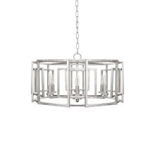 Square Motif Drum Chandelier With Six Arm Light In Silver Leaf. Comes With 6' Matching Chain and Canopy