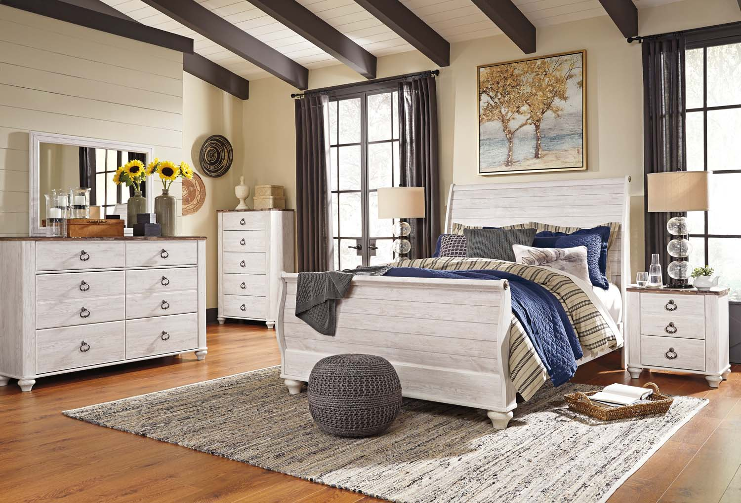 Willowton   Whitewash 2 Piece Bedroom Set
