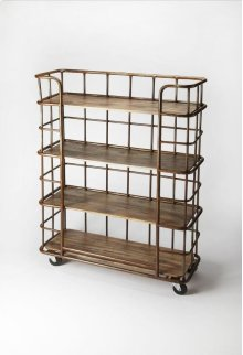 Display books and collectibles in this tag re. A handsome mix of metal and distressed Mango wood, we love its industrial modern character and 5-level shelves, perfect for spaces where closets and cabinets are in short supply and storage systems are key.