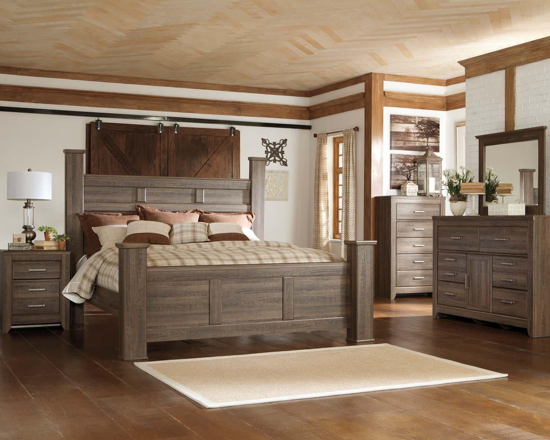 Juararo   Dark Brown 3 Piece Bed Set (King)