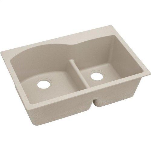 "Elkay Quartz Classic 33"" x 22"" x 10"", Offset 60/40 Double Bowl Drop-in Sink with Aqua Divide, Putty"