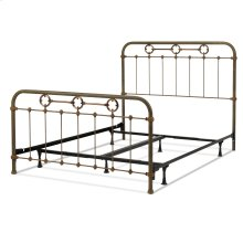 Madera Complete Metal Bed and Steel Support Frame with Intricate Carved Castings and Brass Color Plated Designs, Rustic Green Finish, Queen