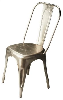 This iron side chair features a lightly distressed anodized finish. It is sturdy, yet lightweight, and a great addition to any living or work space in need of extra seating.