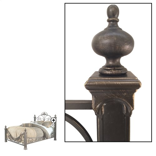 Baroque Complete Metal Bed and Bedding Support System with Highly Decorated Design and Massive Finial Posts, Gilden Slate Finish, Queen