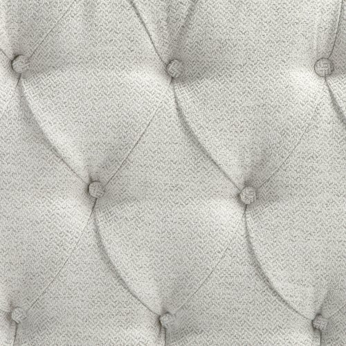 Florissant Button-Tuft Upholstered Headboard with Adjustable Height, Platinum Finish, King / California King
