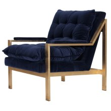 Gold Leaf Arm Chair W. Navy Velvet Cushions