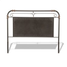 Westchester Metal Headboard Panel with Vintage-Inspired Design and Nailhead Detail, Blackened Copper Finish, Queen