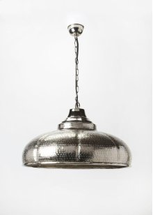 This distinctive single light pendant is an attractive accent in virtually any space. Featuring a nickel finish, it is hand crafted from cast aluminium.