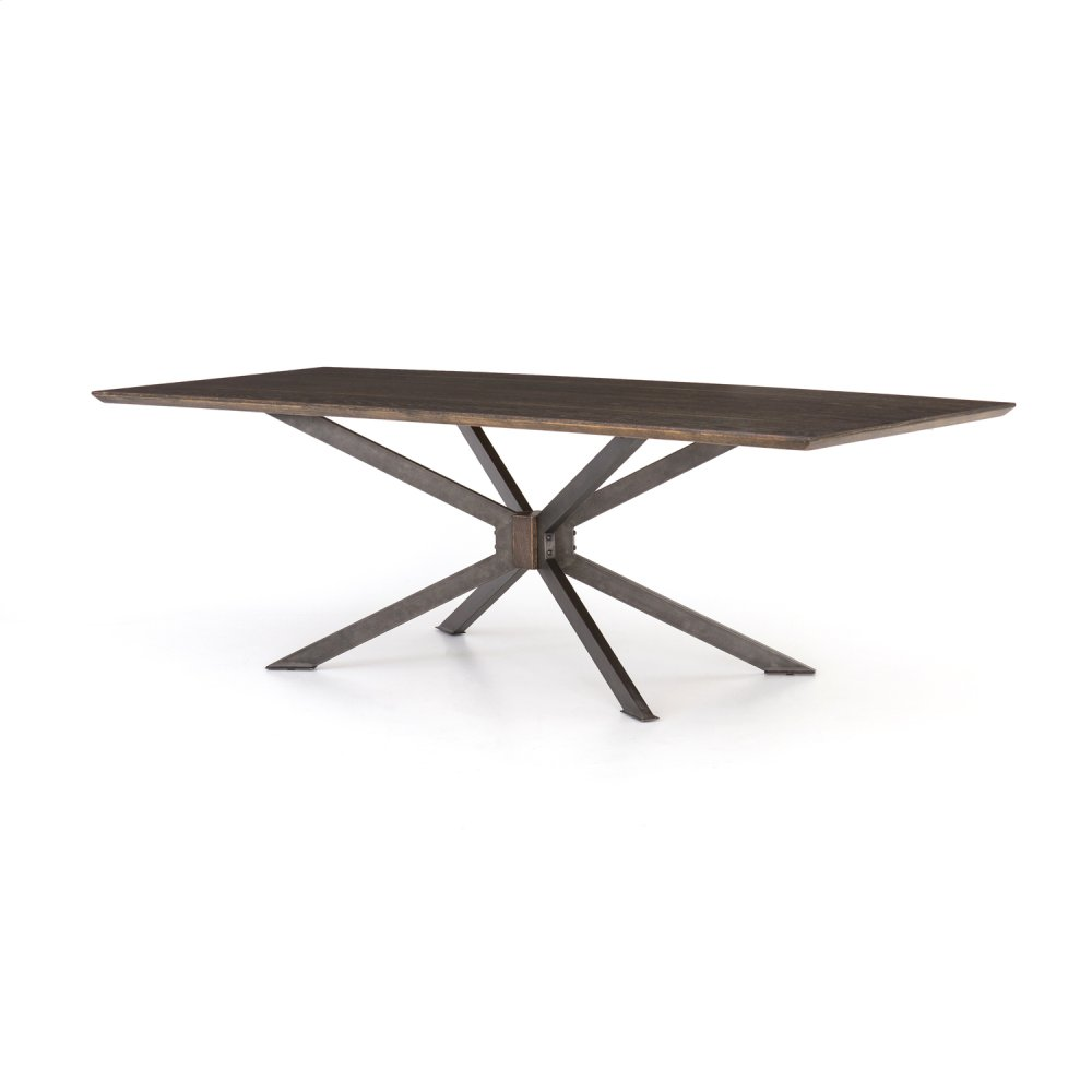 """English Brown Oak Finish 94"""" Size Spider Dining Table"""