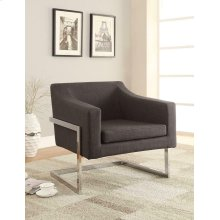 Contemporary Grey and Chrome Accent Chair
