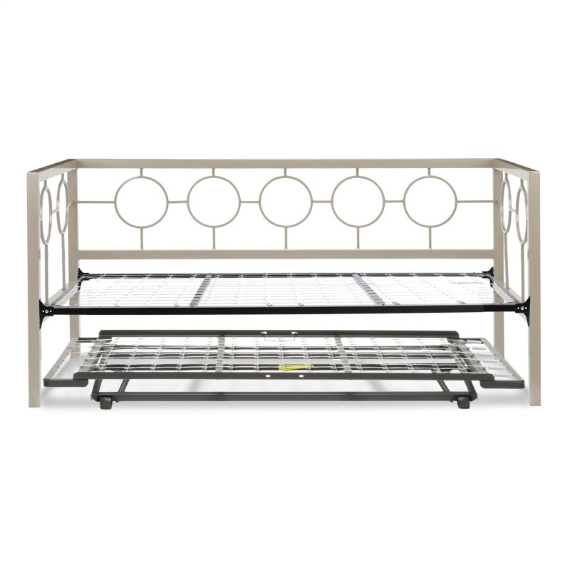 Astoria Complete Metal Daybed With Link Spring And Trundle Bed Pop Up Frame Champagne