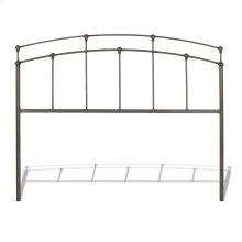 Fenton Metal Headboard Panel with Globe Finials, Black Walnut Finish, King