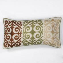 "L171 Multicolor Damask Pillow 12"" X 20"""